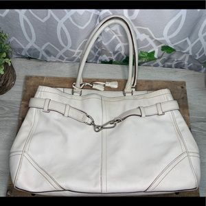 Authentic Coach Beige Hampton Leather Tote Handbag